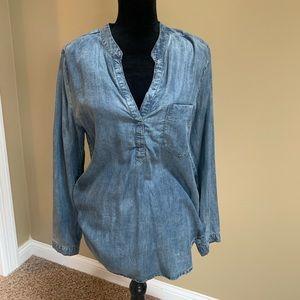 Women's Joan Vass Studio denim blouse sz M